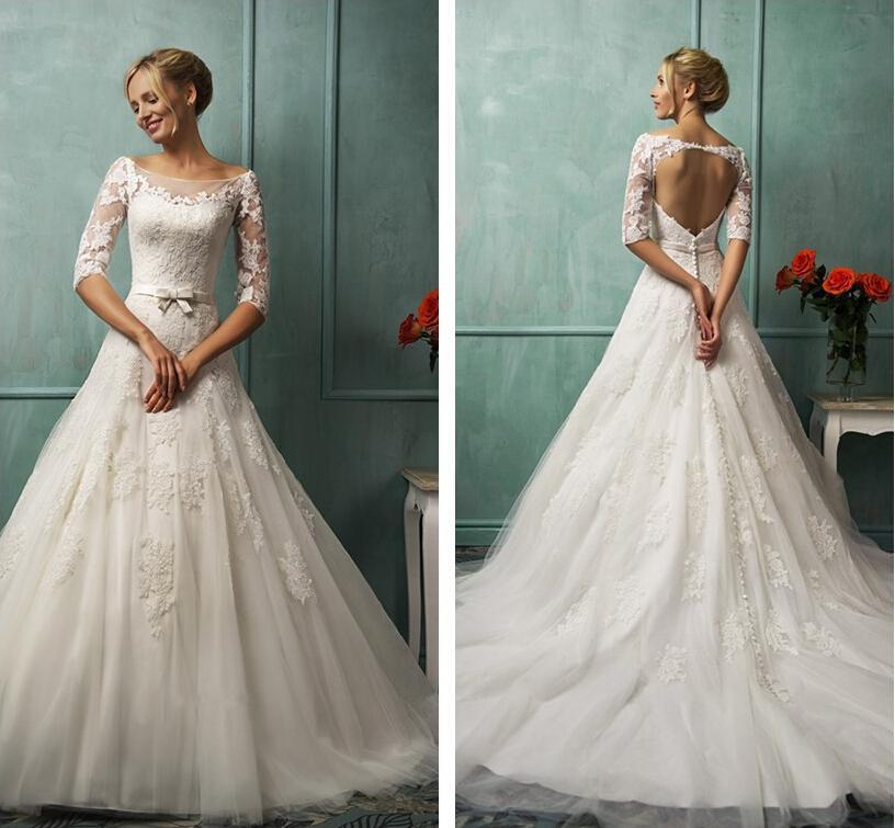 Discount Vintage Wedding Dresses Lace Appliques Bateau Neckline ...