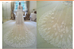 Wholesale 2014 Top sale meters long cathedral applique lace pearls beaded Bridal Veils Fast shipping handmade wedding veils