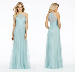 Wholesale 2014 Vintage Alvina Maids Party Gowns Sheer Halter Neck Plus Size Light Mint Tulle Long Bridesmaid Dresses Cheap In Stock DL1312880