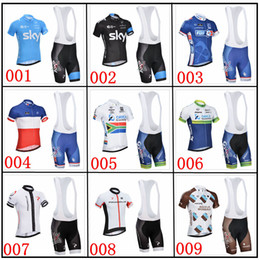 Wholesale New arrival cycling jerseys short sleeves bib sky FDJ orica greenedge cycling jersey with different color and different style