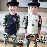 Cheap 2pcs Korean boys handsome cotton sets children long sleeve t shirt + pants outfits kids casual suits spring camouflage clothing fxygmy