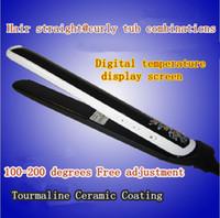 Cheap uk eu us plug hair styling tools curling iron ceramic electronic curler iron professional flat iron ceramic straightener