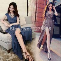 Cheap 2014 New Womens Summer Sexy Womens Boho Open Side Split Dress V-Neck Summer Chiffon Long Maxi Dress
