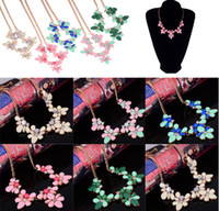 Wholesale New Vintage Style Bronze Metal Rhinestone Resin Gem Flower Choker Necklace mix colors JN06164