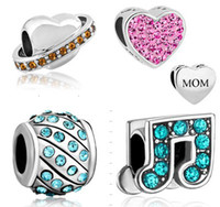 South American pandora - 100PCs High Quality DIY Jewelry Silver Crystal Charm Big Hole Beads With Stones Fit DIY charm Bracelets For Pandora Style Bracelets