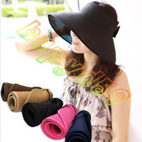 Wholesale new fashion lady hollow bow summer hats UV sun capwoman beach visor hat large brimmed straw hat foldable