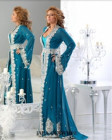 Cheap Plus Size 2014 Blue Mother of the Bride Dresses Arabic Kaftan Runway Evening Dresses Long Sleeves Applique Chiffon Abaya Dubai Evening Gowns