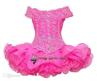 cupcake pageant dresses - Hot pink horizontal collar neck lace sequins ruched ruffles little girls mini short skirt cupcakes infant toddler pageant princess dresses