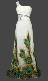 Wholesale Unique A Line One Shoulder Peacock Rhinestone Maxi Evening Gown Prom Dress S M L XL Green