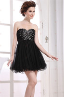 Cheap Sexy Black Homecoming Dresses New A Line Strapless Sweetheart Neck Black Tulle Mini Short Cocktail Dresses Cheap