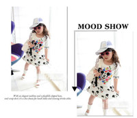 Cheap Retail new 2014 baby kids mickey mouse clothing set children girls clothes print minnie dress suits for 3-7Y