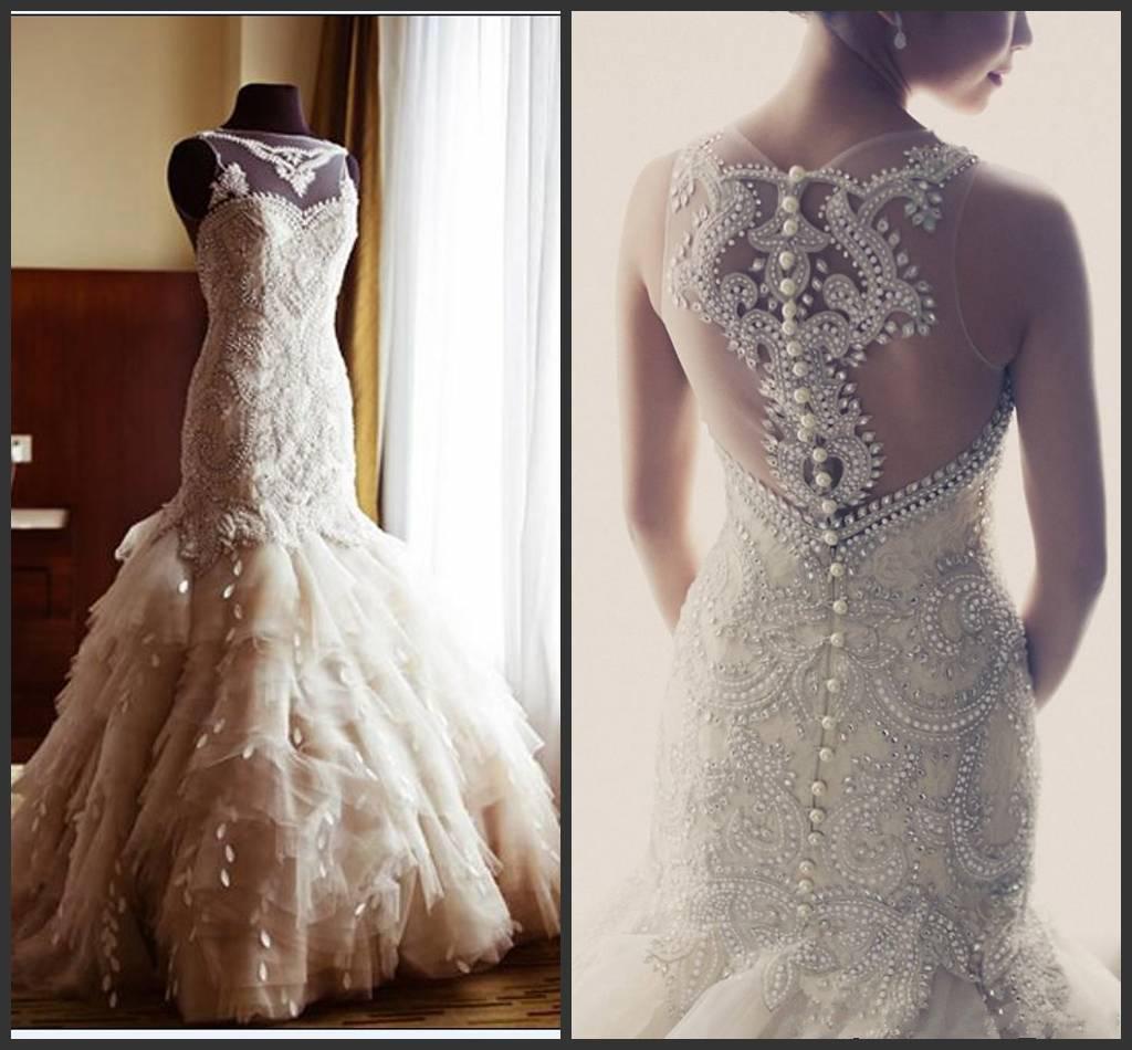 Breath Taking Veluz Reyes Crystal Wedding Dresses Sheer