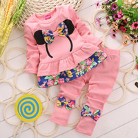 Wholesale New Girls Baby Bow Floral Outfits Girls Floral Tops Long Pants With Bow Kids Spring Autumn Sports Casual Suits Sets