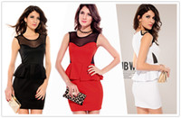 Cheap Newest Gold Studs women mesh sexy career slim Peplum Dress summer dress sleeveless women fashion clothing B4435