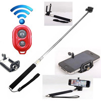 Wholesale Extendable Handheld Self portrait Monopod selfie stick Photograph Bluetooth Shutter Camera Remote Control monpod shutter clip