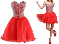Cheap Exquisite Sweetheart Red Ball Gown Homecoming Dresses 2014 Organza Beaded Corset Backless Mini Short Backless Prom Dress 71910