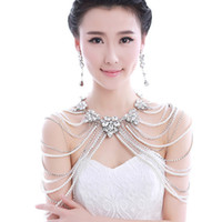 Wholesale 2014 New Coming Gorgeous Bridal Jewelry In Stock Crystal Pearls Beading White Women Shoulder Chain And Armband For Wedding Made In China ZX