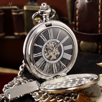 Antique antique silver fob - KS Silver Case Black Dial Roman Numerals Skeleton Men Mechanical Hand Wind Necklace Pocket Fob Watch with Original Box KSP033