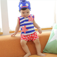 fishing hat - New Arrivial Children Childs Swimsuits Sleeveless Stripe Tops Fish Scale Printed Pants Cute Hat Set Swimming Wear Beach Clothes J0854