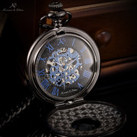 antique boxing - KS Brand Vine Blue Roman Numerals Skeleton Men Mechanical Hand Wind Pocket Fob Watch Necklace with Original Box KSP032