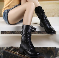 Wholesale Women Motorcycle Boots Fashion Winter Ladies Vintage Combat Army Punk Goth Ankle Shoes Women Biker PU Leather Short Boots