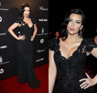 Reference Images V-Neck Lace Plus Size Kim Kardashian Celebrity Dresses With V Neck Cap Sleeve Sheath Sweep Train Black Lace Evening Prom Party Gowns Of 2014 Oscar