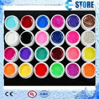 Wholesale 24 Mix Pure Glitter Color Nail polish UV Builder Gel for Nail Art Fasle Tips Set wu