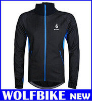 Wholesale WOLFBIKE Men Cycling Jacket Coat Bicycle Bike Cycle Long Sleeve Jersey Clothes Winter Thermal Fleece Wind Breathable Windproof hight quality