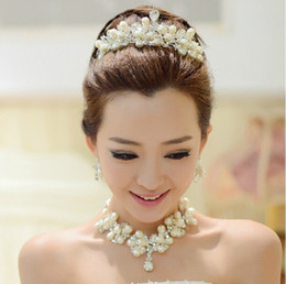 Wholesale In Stock Bridal Jewelry Victorian Clear Austrian Rhinestone Crystal Neacklace Earrings Set Bridal Crown Tiara Wedding Jewlery
