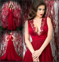Cheap Chic Red Chiffon Evening Dresses 2014 Lace Neckline See Through Pleat Court Train A-Line Evening Gowns