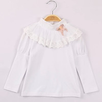 Cheap 2014 NEW Retro sweet cute style children base shirt Long sleeve Lace decorative border puff sleeves for winter white bottom top tees ly25