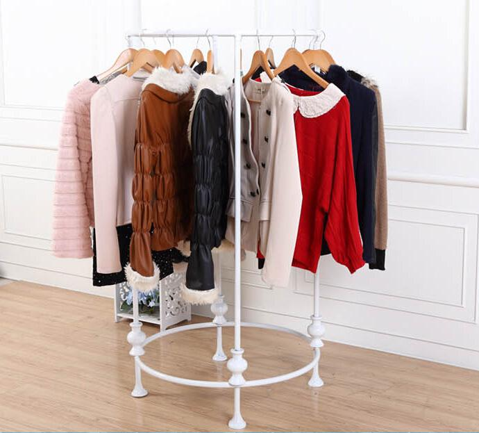2017 Fashion Wrought Iron Clothes Rack Clothing Store Shelves