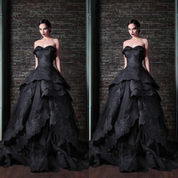Wholesale 2015 Best Selling Luxury Formal Gown Sweetheart Floor Length Ball Gown Black Lace Applique Layers Corset Party Evening Dresses EM02611