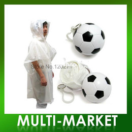 Wholesale Cheap Disposable Raincoat Football One use Rain Poncho In The Footballs For Gifts