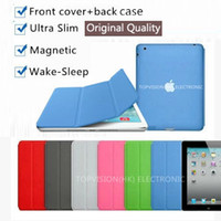 Wholesale 1PC Nice quality ultra slim thin magnetic smart cover transparent back case for ipad air mini Pro pu leather