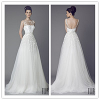 Wholesale 2014 New Selling Sheer Wedding Dresses Bateau Backless A Line Long Tulle Bridal Gowns with Applique Embroidery Designer Bridal Dress