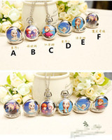Wholesale In Stock Frozen Elsa Anna Kids Gift Necklace Pocket Watch Children Girl Lovely Snow Queen Olaf Ceram Clothes Chain Silver High Quality H0947