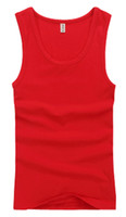 Wholesale Most Popular With Men s Athletic Tank Top Shirts Sexy Cotton Tight Sports Vest Red Hot Fashion