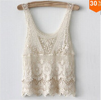 Wholesale New Women s Embroidery Lace Tank Top Vest Ladies Sexy Floral Lace Blouse Shirt Plus Size Basic Sleeveless Tank Crochet Tops