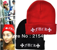 Cheap Wholesale 2013 Winter Fashion FUCK Wool Cap Beanie Women Winter Warm Hat For Men Knitting Hat, free shipping