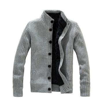 Fashion Collar Warm Thick Knitting Men Jacket, Pull à manches longues Hommes, Pu