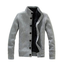men knitted sweaters - Fashion Collar Warm Thick Knitting Men Jacket Long Sleeved Sweater Men Sweater for Men