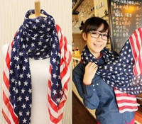 Wholesale Chiffon Scarves US Flag Star Stripe Flag Size cm New Arrival W18