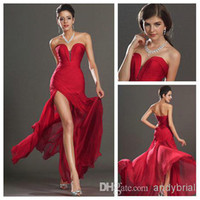 Actual Images 2014 Sweetheart Red Prom Dresses Split Front B...