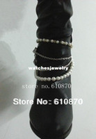 Cheap Wholesale-407-2013 New Winter Style Chunky Heel Shoe Boots Ankle Chain Body Anklet Bracelet Foot Pearl Beads Jewelry