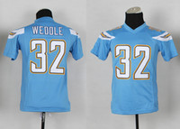 Cheap Kids #32 Eric Weddle Powder Blue Jerseys 2014 New Charger American Football Team Jersey High Quality Youth Football Shirts Cheap Sportswear