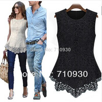 Cheap 2014 Women Sleeveless Embroidery Lace Flared Peplum Shirts Crochet Tops Tee T-Shirt Slim Fit Top Blouses Size S M L XL XXL XXXL