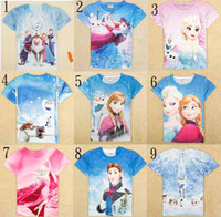 2014 new arrivals 2y- 8y girls clothing elsa frozen t- shirt n...