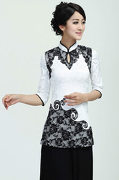 Wholesale New Arrival Chinese style fashion Lady cheongsam Top Women s Lace Qipao TOPS Evening Dress shirt White blouse