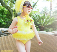 Cheap Summer Girls Swimsuit Suspenders Dresses Flower Lace Tutu Tulle Skirt Swimming Wear With Hat 2pcs Swimsuits Childs Kids Bathing Suit J0861